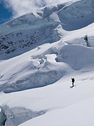 Skiing between the crevasses and seracs on the Aletsch glacier.Bernese Oberland, Switzerland