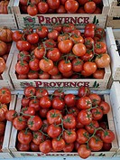 Fresh vine tomatoes at a Provence region market