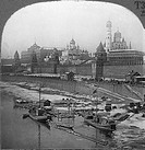 MOSCOW: THE KREMLINMoscow in winter, viewed from the Moskva River. Stereograph view, c1900.