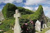 kilmacreehy church ruins near liscannor in munster region, county clare, ireland