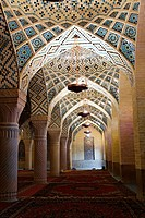 Interior of the winter prayer hall of the Nazir ul Mulk Mosque, Shiraz, Iran