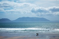 People In The Distance At The Seashore, Inch Island, County Kerry, Ireland