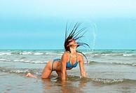 Model bikini in water