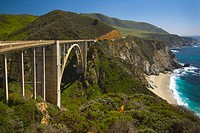 bridge on highway 1 along the pacific ocean near big sur, california, united states of america