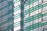 Green striped glass building