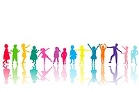 Group of colored children silhouettes