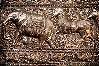 Sri Lanka, Colombo, Gangaramaya Temple, metalwork, architecture detail,