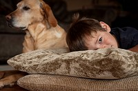 Young boy lying on pillow with dog