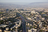 Aerial photograph of the modern city of Jerusalem