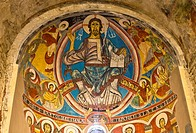 Murals depicting the Pantocrator in the Romanesque church of Sant Climent de Taüll - Vall de Boi - Lleida Province - Catalonia - Cataluña - Spain