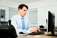 Office worker using computer