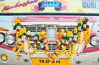 Hindu garland on the front of bus used on a pilgrimage, Tanjore, Tamil Nadu (thumbnail)