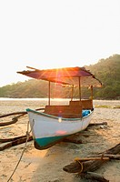 Boat on beach in Palolem, Goa