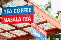 Tea, coffee, masala tea signs on stall in Cochin, Kerala