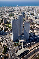Aerial photograph of the Azrieli towers in central Tel Aviv