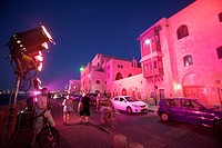 Photograph of the old city of Jaffa painted with Pink light