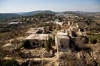 An aerial view of the ruins of the arab village of Suba and Belmont castle in Tzova