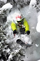 LANDING AFTER A SKI JUMP, OFF_PISTE SKIING, ALPS, SAINTE FOY TARENTAISE, SAVOY !73, FRANCE
