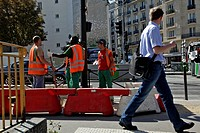 ROAD WORKS ON THE BOULEVARD PASTEUR, NEIGHBORHOOD OF THE MONTPARNASSE TRAIN STATION, PARIS 75, FRANCE