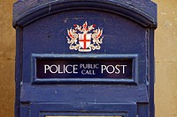 England, London, City of London. An old Police box in the City of London. The callbox was for use by the public to contact the police or for police wo...