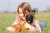 Girl, with, Belgian, Malinois, puppy