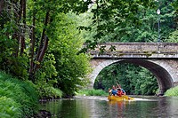 France, Centre, canoeing on the Huisne between Margon and Nogent le Rotrou.