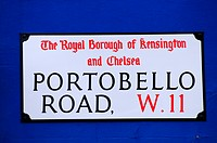 England, London, Notting Hill. Portobello Road W11 Street Sign in the Royal Borough of Kensington and Chelsea
