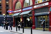 England, London, Covent Garden. The entrance to Covent Garden Underground Station in Long Acre