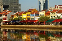 Singapore, business center and boat quay