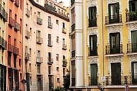Buildings in Plaza de San Miguel  Madrid, Spain