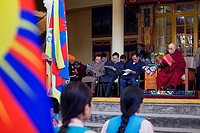 His holiness the Dalai Lama and members of the Tibetan government in exile, in Namgyal Monastery,in Tsuglagkhang complex  McLeod Ganj, Dharamsala, Him...