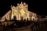 The church of the Holy Spirit during the Senhor Bom Jesus da Pedra fest at Vila Franca do Campo, Sao Miguel island, Azores