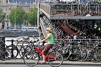 The Netherlands, North Holland, Amsterdam, cyclist and shed bike