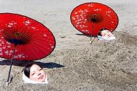 Japan, island of Kyushu, Ibusuki, heat sand bath