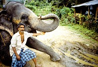Sri Lanka, near Kandy, elephant driver