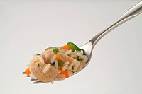 Chicken Rice and Vegetables on a Fork, White Background
