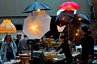 Art design of snack bar with umbrellas in the Kimmel's Center lobby, Philadelphia, Pennsylvania, PA, USA