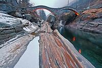 the famous old bridge Ponte dei Salti in Lavertezzo, Ticino