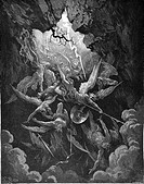 Gustave Doré, The Mouht of Hell from John Milton's Paradise Lost, Black and White Engraving