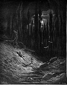 Gustave Doré, The Vigil by the Grave of Atala from Chactas and Atala, a novella by François-René de Chateaubriand, Black and White Engraving