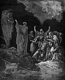 Gustave Doré, Saul consulting the Witch of Endor 1 Samuel Ch 28, Black and White Engraving