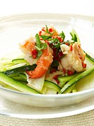 Vietnamese prawn salad on bowl, close_up