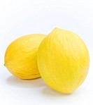 Canary melons on white background, close_up