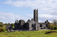 Ireland, County Clare, Quin Friary, View of auin abbey