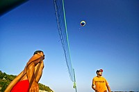 Volley ball on the beach, Cala Varques, Marina de Manacor, Mallorca, Balearic Islands, Spain