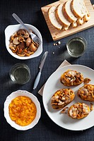 Toast with pumpkin pate and mushrooms