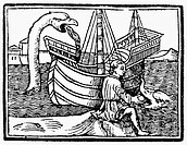 SEA MONSTERS, 1516.Sea serpent and dolphin from an edition of Pliny the Elder's 'Historia Naturale,' woodcut printed at Venice, Italy in 1516.