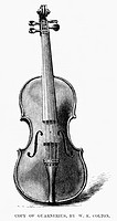 GUARNERIUS VIOLIN.Copy of a Guarnerius violin, made by Walter E. Colton of Brooklyn, New York. Wood engraving, 1881.