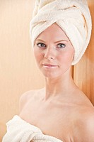 Portrait with a towel turban