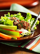 Meat balls and crudites